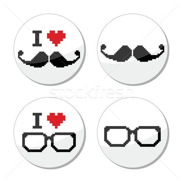 I love glasses and mustache / moustache icons set Stock photo © RedKoala