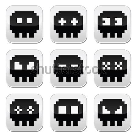 Space invaders, 8bit aliens buttons set Stock photo © RedKoala