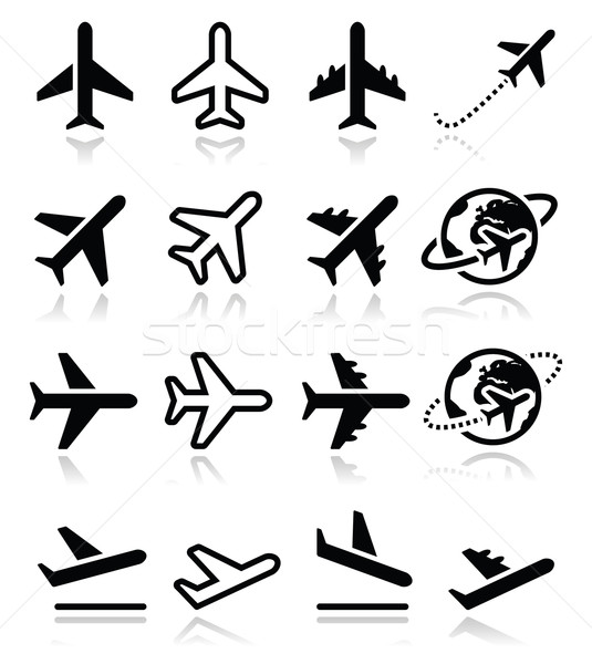 Plane, flight, airport  icons set Stock photo © RedKoala
