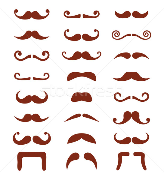Stock photo: Brown moustache or mustache vector icons set