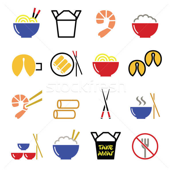 Chinese take away food icons - pasta, rice, spring rolls, fortune cookies  Stock photo © RedKoala