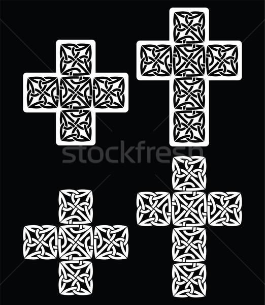 Celtic cruz establecer tradicional diseños blanco Foto stock © RedKoala