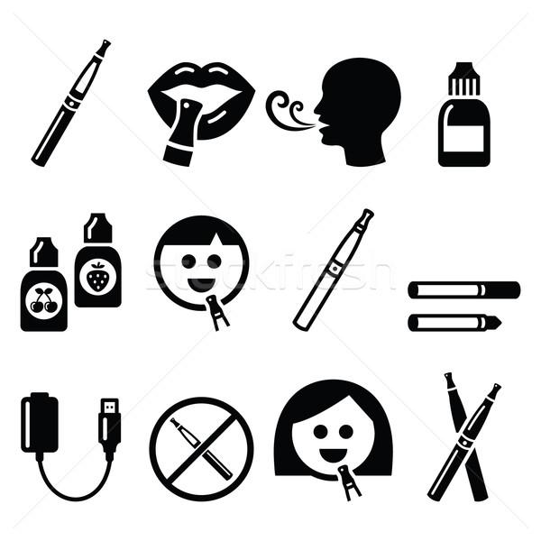 Elektronikus cigaretta kellékek ikonok dohányzás vektor Stock fotó © RedKoala
