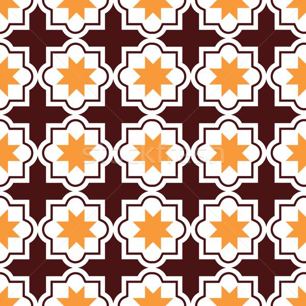 Moroccan tiles design, seamless brown and orange pattern, geometric background Stock photo © RedKoala