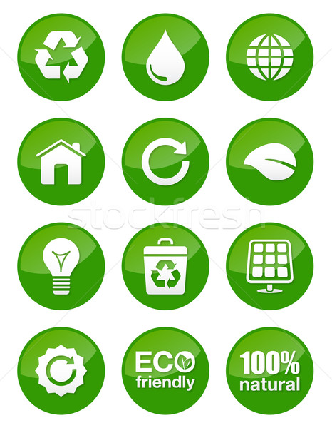 Green eco glossy buttons Stock photo © RedKoala