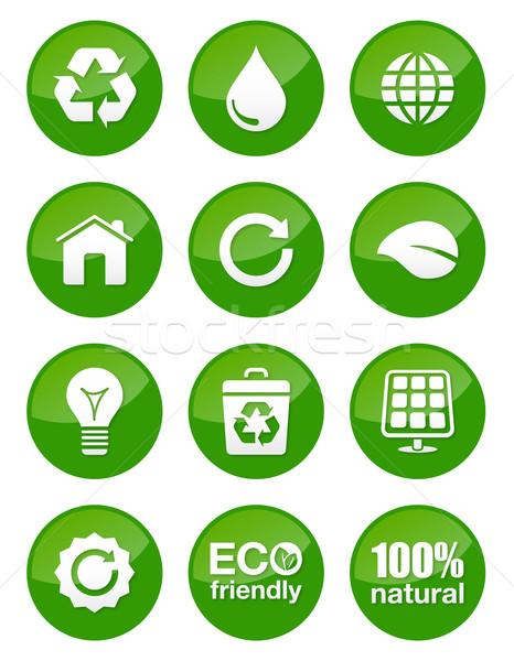 Verde eco lucido pulsanti isolato riciclaggio Foto d'archivio © RedKoala