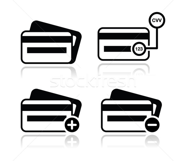 Credit Card, CVV code black icons set with shadow Stock photo © RedKoala