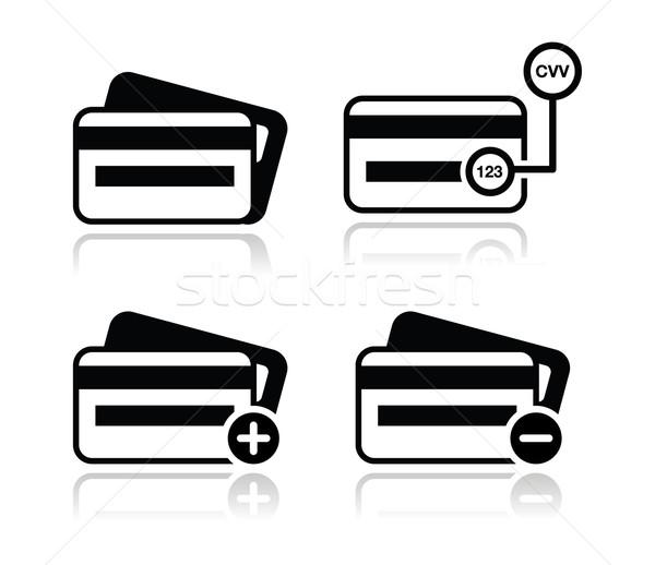 Hitelkártya kód fekete ikon szett árnyék online bolt Stock fotó © RedKoala