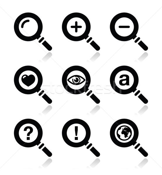 Magnyfying glass, search icons set Stock photo © RedKoala