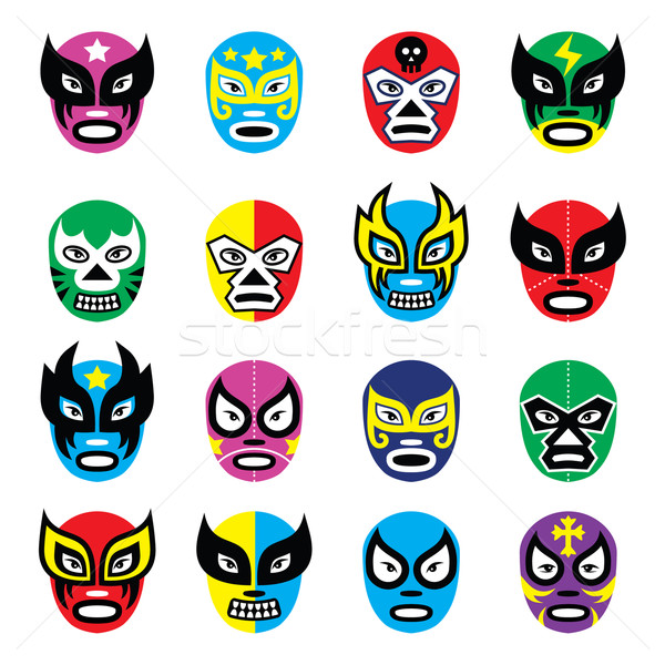 Lucha libre, luchador mexican wrestling masks icons Stock photo © RedKoala