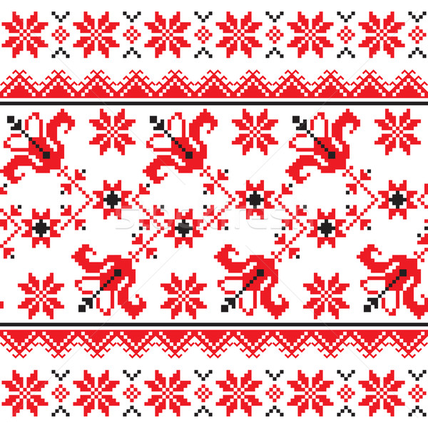 Ukrainian, Slavic Traditional folk knitted red emboidery pattern Stock photo © RedKoala