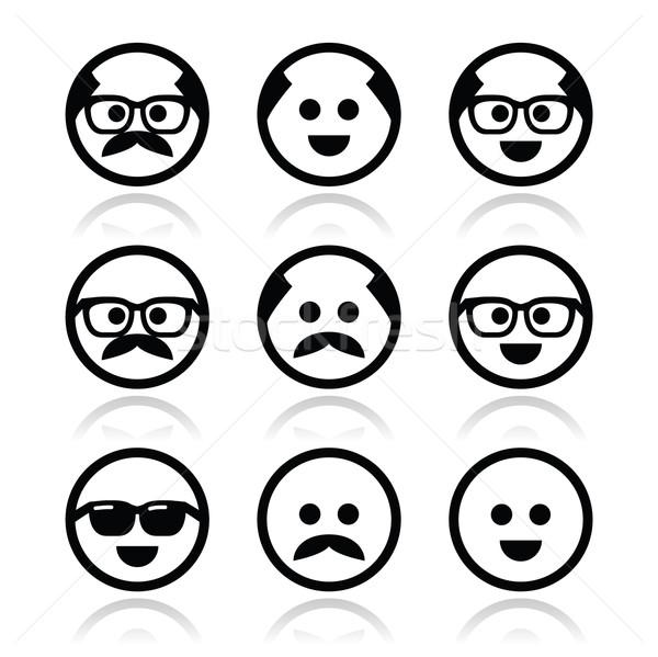 Kel adam bıyık gözlük yüzler Stok fotoğraf © RedKoala