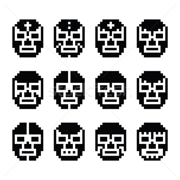 Lucha Libre, luchador pixelated Mexican wrestling masks black icons  Stock photo © RedKoala