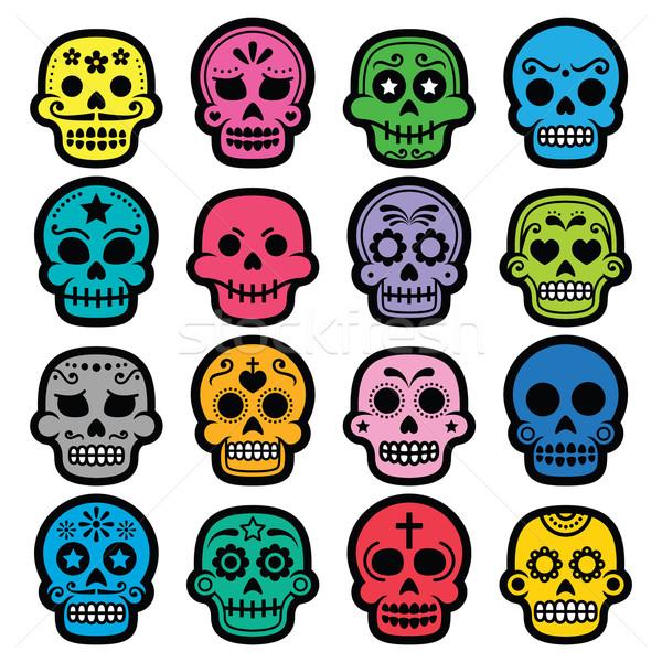 Halloween, Mexican sugar skull, Dia de los Muertos - cartoon icons Stock photo © RedKoala