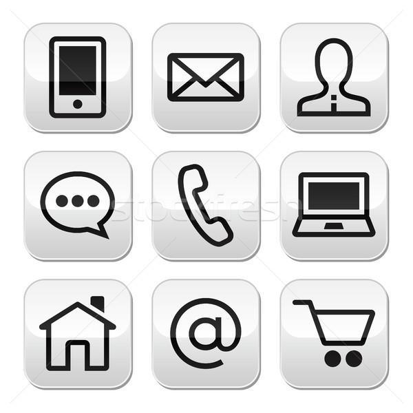 Stok fotoğraf: Temas · web · vektör · düğmeler · ayarlamak · Internet