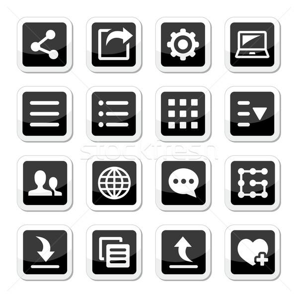 Menü beállítások szerszámok ikon szett vektor címkék Stock fotó © RedKoala