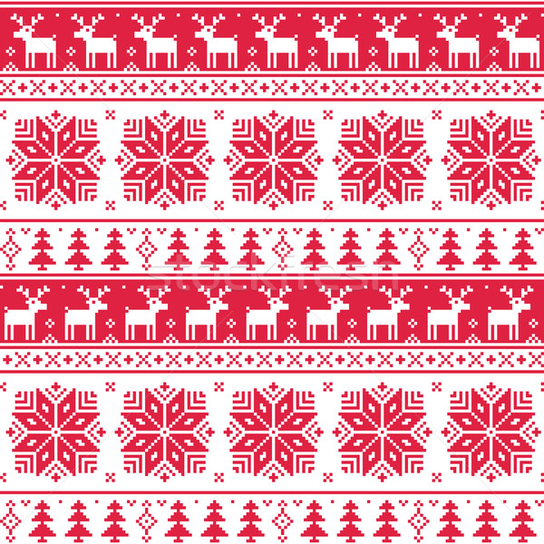 Xmas nordic seamless red pattern with deer Stock photo © RedKoala