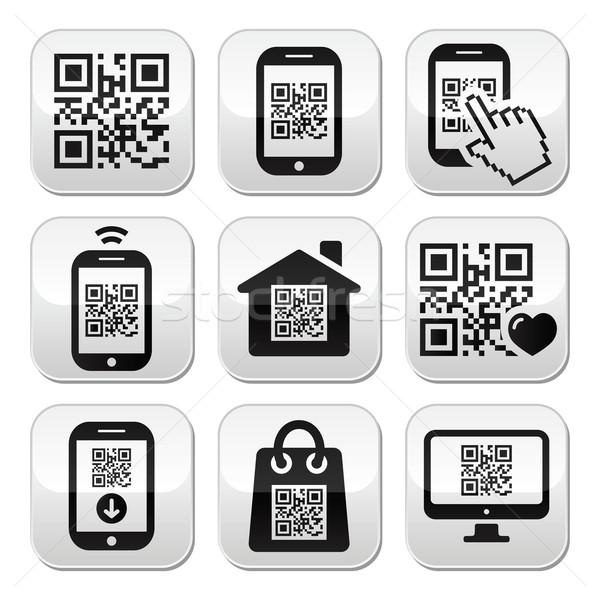 Qr code mobiele mobiele telefoon knoppen ingesteld smartphone Stockfoto © RedKoala