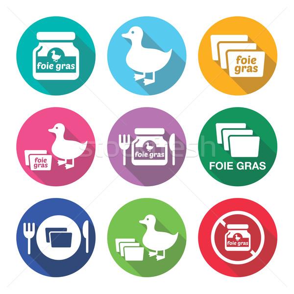 Foie gras, duck or goose flat design icons set  Stock photo © RedKoala