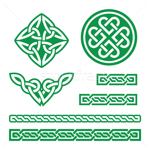 Celtic green knots, braids and patterns - vector  Stock photo © RedKoala