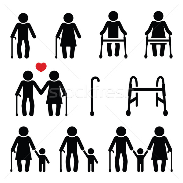 Old people, seniors with walking stick or Zimmer frame, grandparents icons  Stock photo © RedKoala