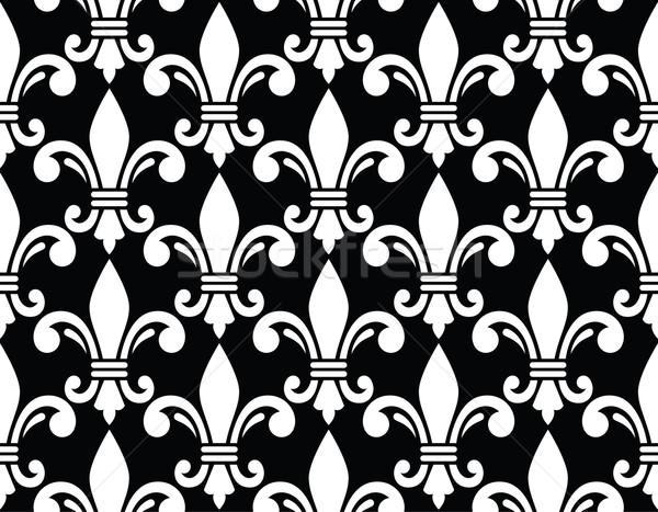 Fleur de lis symbol white pattern on black Stock photo © RedKoala