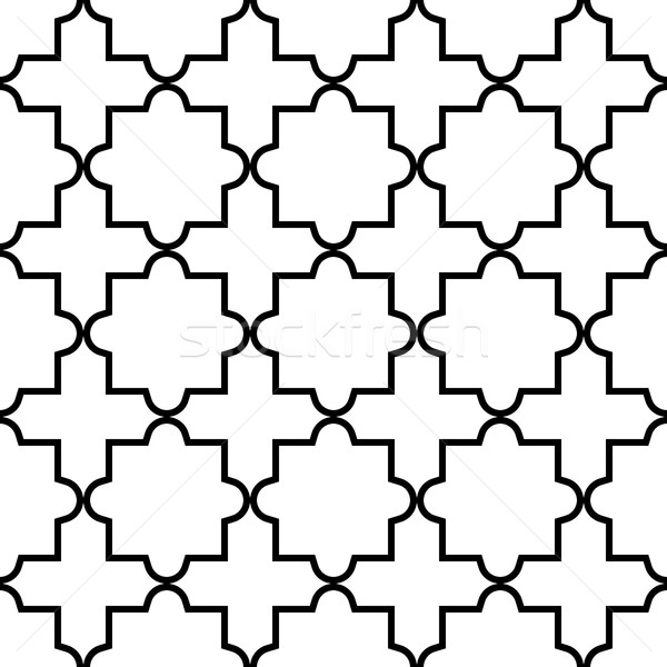 Stock photo: Geometric seamless pattern, Moroccan tiles design, black and white background