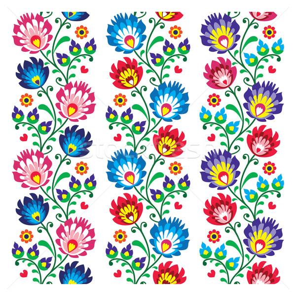 Seamless traditional folk polish pattern - seamless embroidery stripes Stock photo © RedKoala