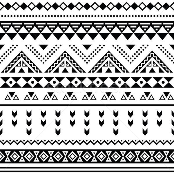 Tibal seamless pattern, white aztec prin black  Stock photo © RedKoala