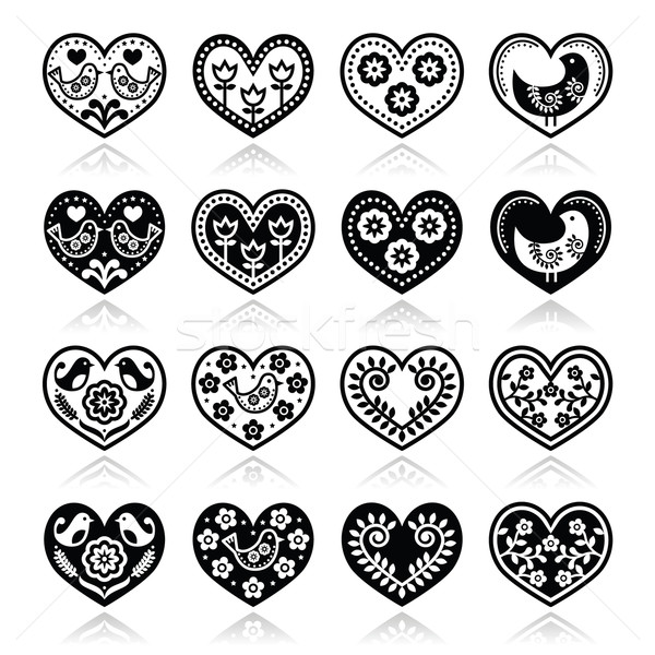 Folk hearts with flowers and birds icons set Stock photo © RedKoala