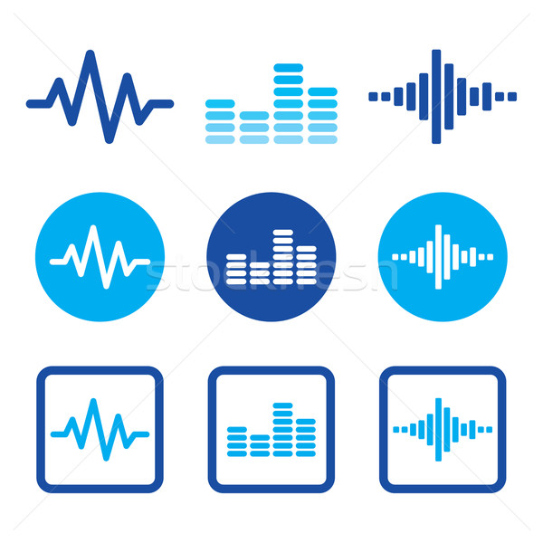 Sound wave music vector blue icons set   Stock photo © RedKoala
