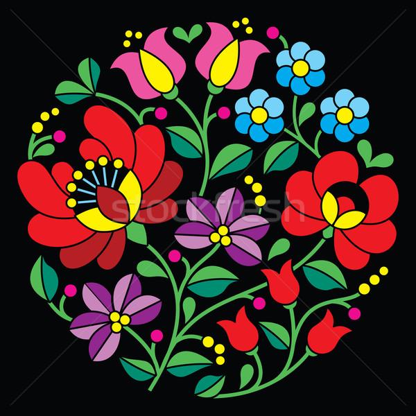 Kalocsai embroidery - Hungarian round floral folk pattern on black Stock photo © RedKoala