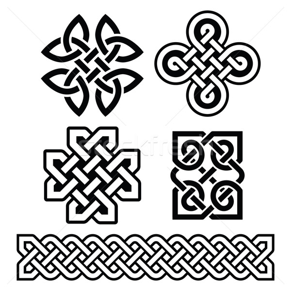 Celtic Irish Patterns And Braids Vector Vector Illustration