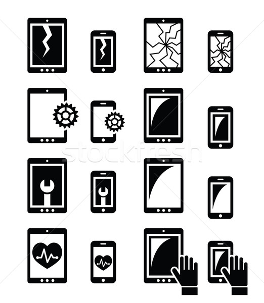 Stock photo: Smartphone, tablet repair - broken screen icons set