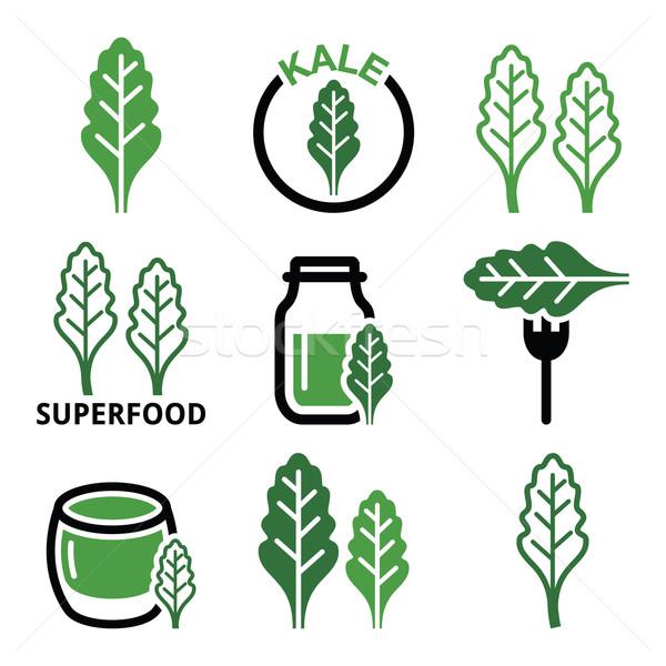 Superfood - kale leaves vector green icons set  Stock photo © RedKoala
