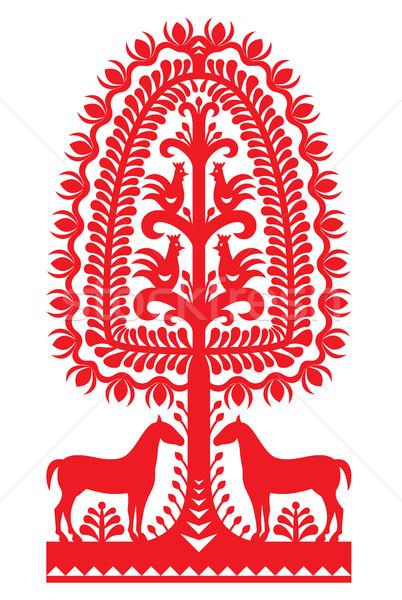 Polish folk art pattern Wycinanki Kurpiowskie - Kurpie Papercuts Stock photo © RedKoala