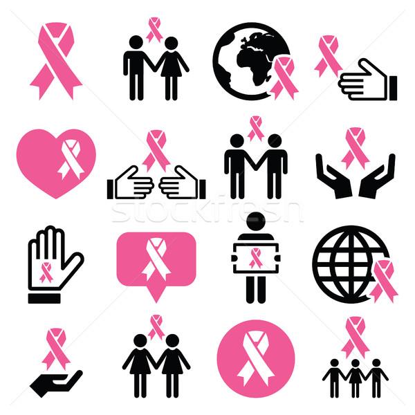 Breast cancer awareness pink ribbons icon set  Stock photo © RedKoala