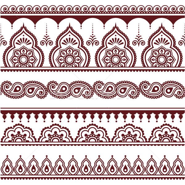 Indian henna tattoo bruin ontwerp Stockfoto © RedKoala