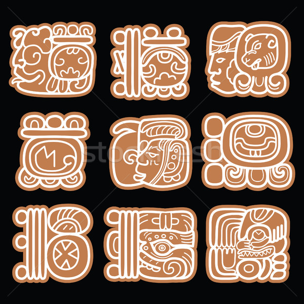 Mayan glyphs, writing system and languge vector design in brown Stock photo © RedKoala