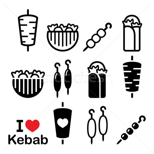 Kebab pita brood voedsel Stockfoto © RedKoala