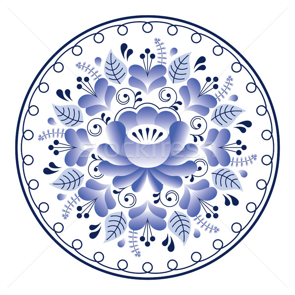 Russian folk art pattern - Gzhel ceramics style, blue floral design  Stock photo © RedKoala