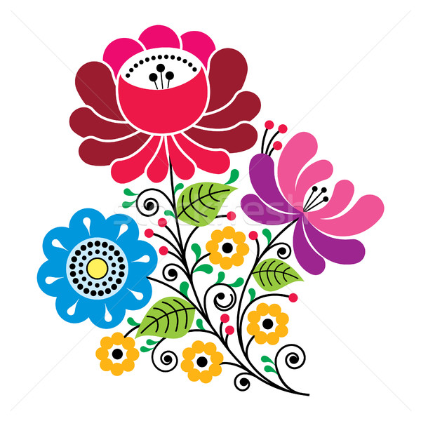 Folk flowers, Russian retro art, floral Gzhel design Stock photo © RedKoala