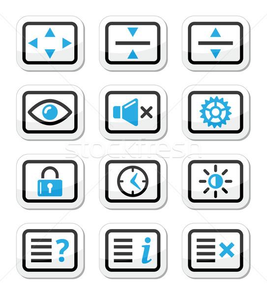 Computer tv monitor screen vector icons set Stock photo © RedKoala