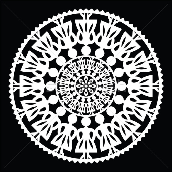 Stock photo: Polish traditional folk pattern in circle with women on black background