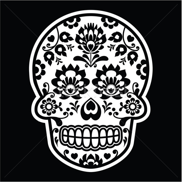 Mexican sugar skull - Polish folk art style on black     Stock photo © RedKoala
