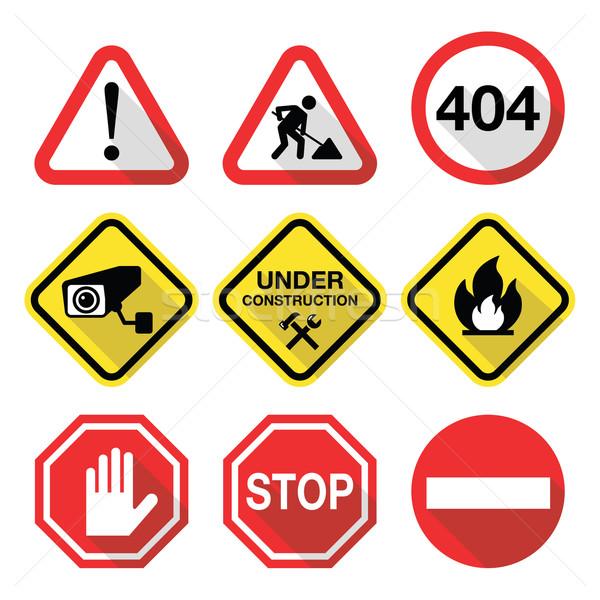 Warning signs - danger, risk, stress - flat design Stock photo © RedKoala