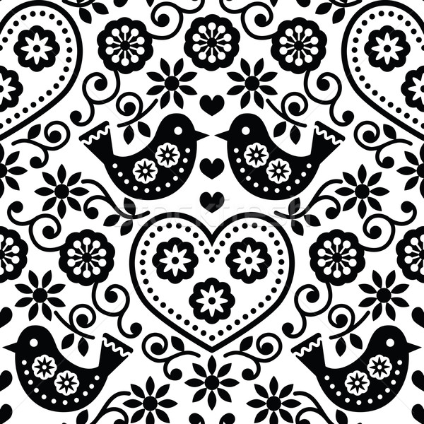Folk art seamless monochrome pattern with flowers and birds Stock photo © RedKoala