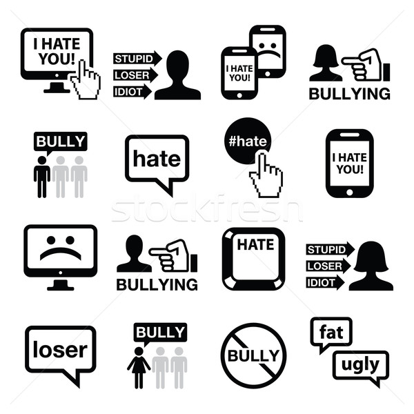 Cyberbullying vector icons set Stock photo © RedKoala