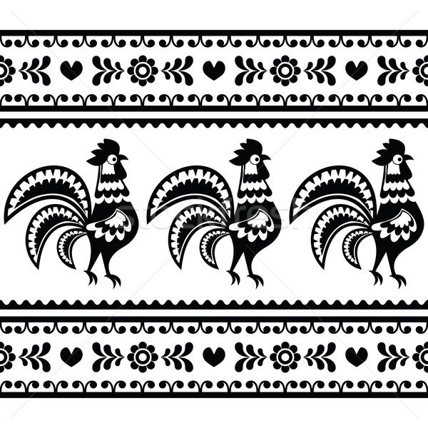 Stock photo: Seamless Polish monochrome folk art pattern with roosters - Wzory lowickie