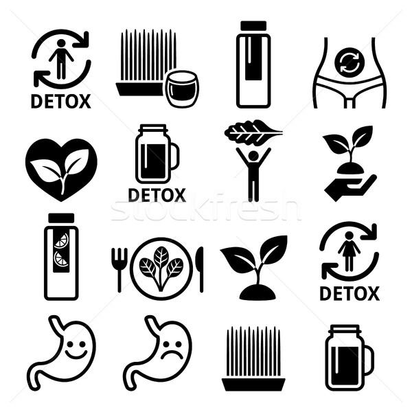 Detox, body cleaning with juices, vegetables or diet icons set Stock photo © RedKoala